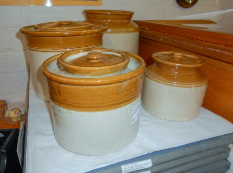Lidded pottery crocks