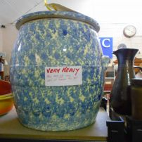 Large pottery bread crock with lid