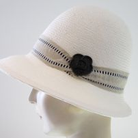 White Art Deco Cloche with Button