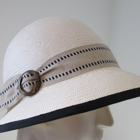 Evelyn Black Ribbon Edge Cloche with Coconut Buckle