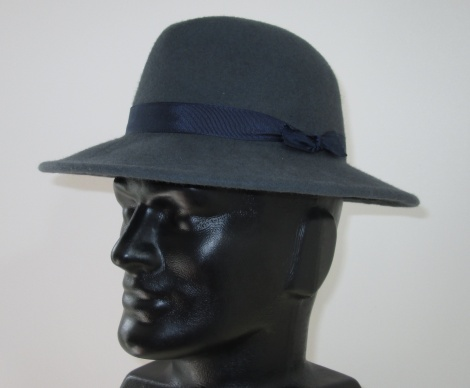 Men's Blue Grey Felt Fedora with Navy Ribbon