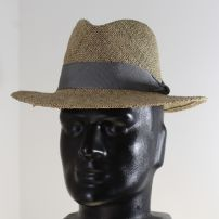 Men's Fedora Sun Hat with Grey Ribbon