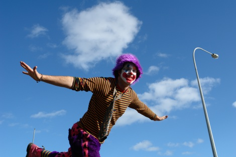 Jamie the clown flying to a birthday party