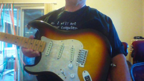 Neil's Sunburst Strat in Carnarvon WA. With Customised Strat Lefty 'Flecker' Pickguard.