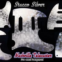 Stacco Silver SSS Tele Pickguard Etched Art Stainless Steel Metal Fender Nashville Telecaster Guard