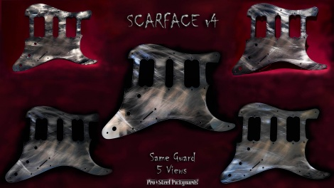 SCARFACE v4 *SOLD* HSH FENDER STRATOCASTER STEEL PICKGUARD WORLDWIDE AIRMAIL