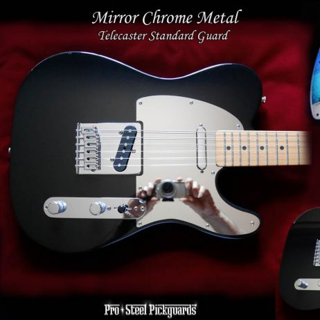 FENDER TELECASTER FULL MIRROR GUARD CHROME POLISHED METAL FITTED PICKGUARD
