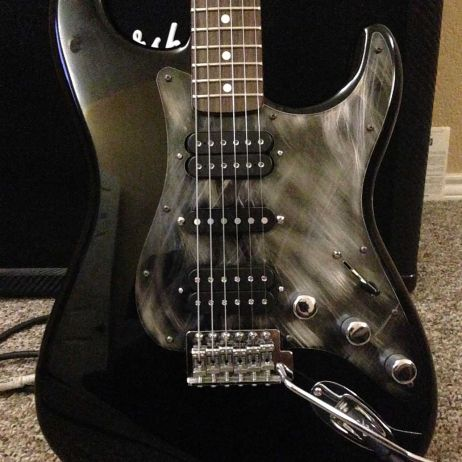 Shop gallery pro steel pickguards custom hsh black fender stratocaster from lance in texas with a scarface black stainless steel guard sciox Images