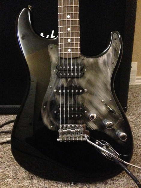 Custom HSH Black Fender Stratocaster from Lance in Texas with a Scarface Black Stainless Steel Guard