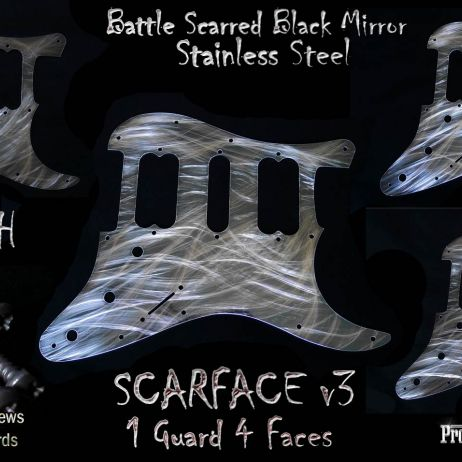 SCARFACE v3 *SOLD* HSH FENDER STRATOCASTER CHROME BLACK MIRROR STEEL PICKGUARD