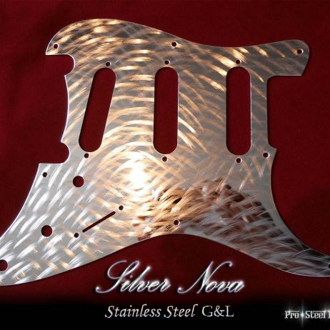 Silver Nova G&L Legacy Tribute Guard Stainless Steel Hand Machined Chrome Metal Pickguard