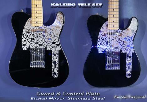 FENDER TELECASTER GUARD SET KALEIDO MIRROR ETCHED CHROME TELE FITTED PICKGUARD