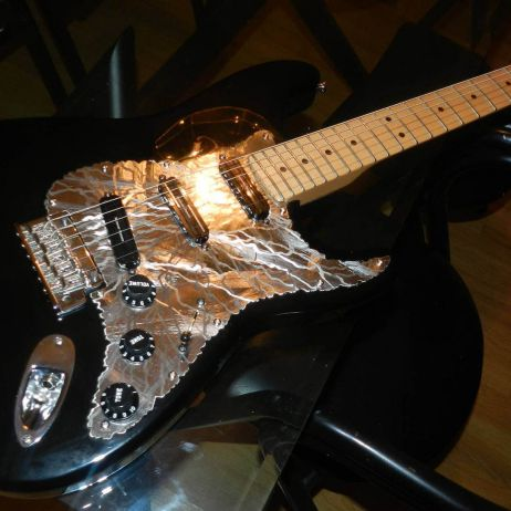 Fender Stratocaster from Gregg in Georgia with Blitz No.3 guard carved from mirror stainless steel