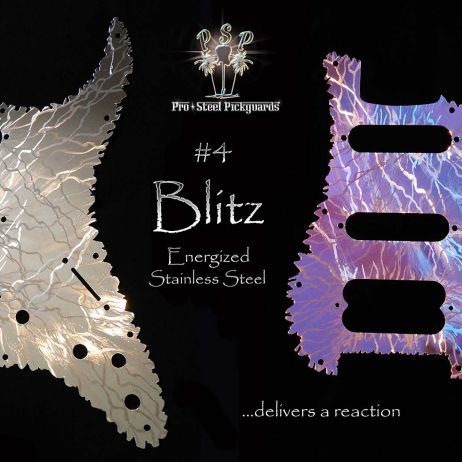 Blitz HSS Strat Pickguard Stainless Steel Engraved Mirror Metal Fender Stratocaster Guard
