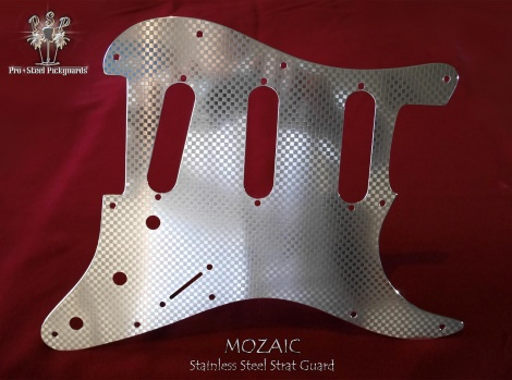 Mozaic Stainless Steel Strat Pickguard Fender Stratocaster SSS Chrome Guard