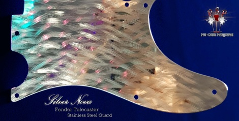 Silver Nova closer look Pro Steel Pickguards hand machined stainless steel chrome Fender guard