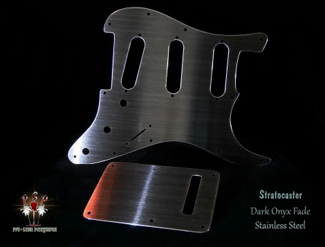 Dark Onyx Fade Strat Guard and Trem Cover Stainless SSS Pickguard Fender Stratocaster Backplate