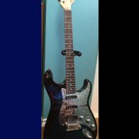 Blueburst G&L Legacy Tribute and Silver Nova stainless steel pickguard chrome knobs