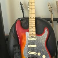 Fender Elite Aged Cherry Burst Strat from Rickey with the Stacco polished stainless steel guard