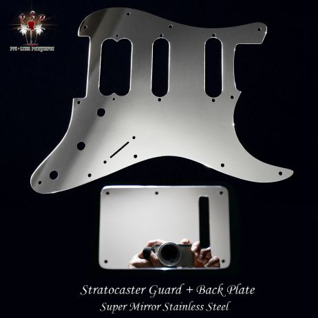 Super Mirror Pickguard and Back Trem Cover Fender Stratocaster Stainless Steel Chrome Strat Guard