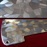 Close Details of Stacco Silver Tele 5 Hole Etched Stainless Steel Fender Telecaster Guard
