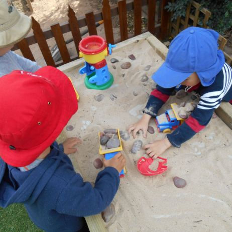 Playing at the sand table