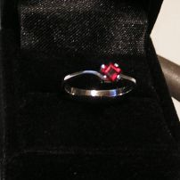 Sterling Silver & Garnet Ladies Dress Ring