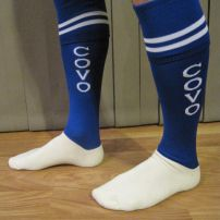 COVO Euro sock we supplied to a local soccer club. We can embroide any text into the side you like.