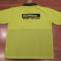 Rear of Hi Vis Polo with screen print