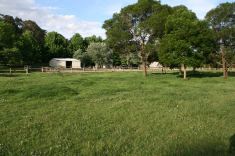 The view towards arena and stables