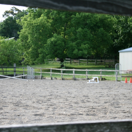 arena, stables and pecan tree