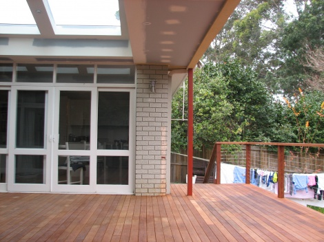 Deck with skylights
