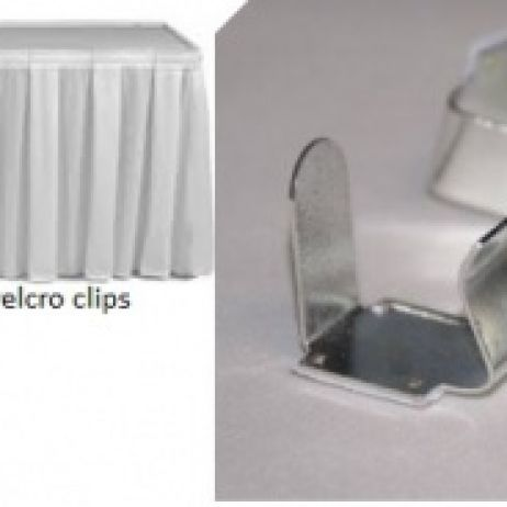White or Black Table Skirt with Clips