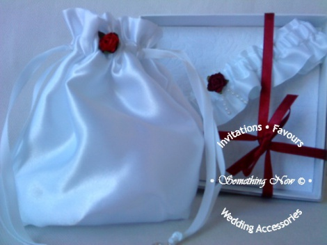 RED ROSE BRIDAL BAG WHITE