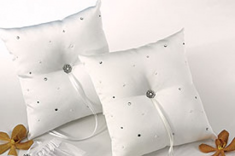 PEARL & CRYSTAL RING PILLOW IVORY