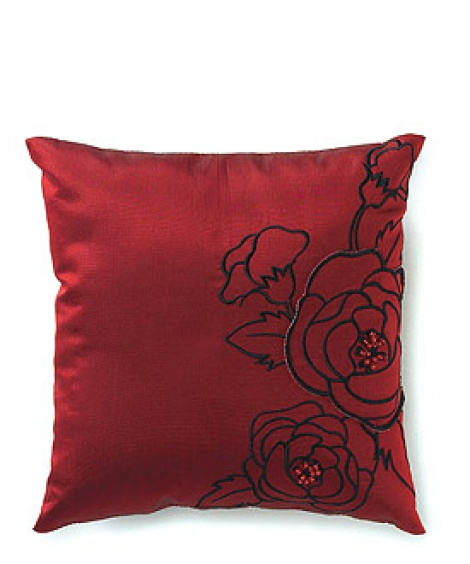 SILHOUETTES IN BLOOM RING PILLOW RED