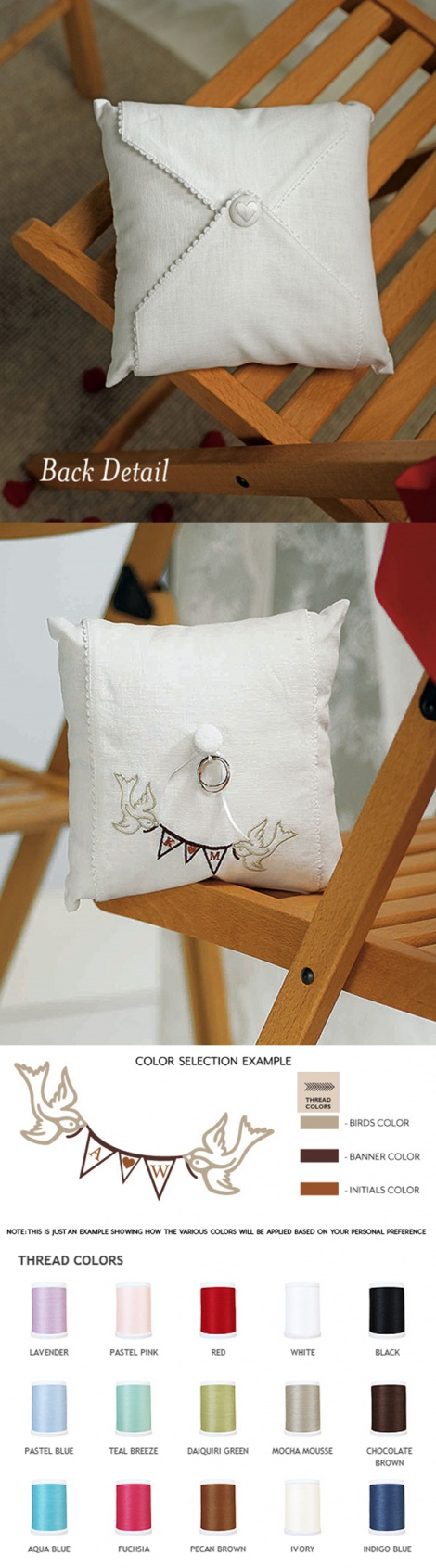 SIMPLY SWEET BIRDS WITH LOVE PENNANT RING PILLOW