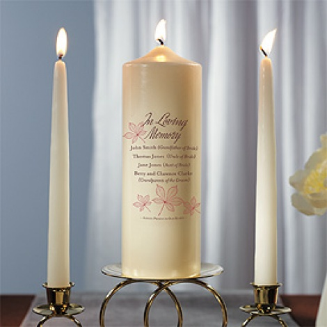 PERSONALISED MEMORIAL AUTUMN LEAF PILLAR CANDLE - IVORY