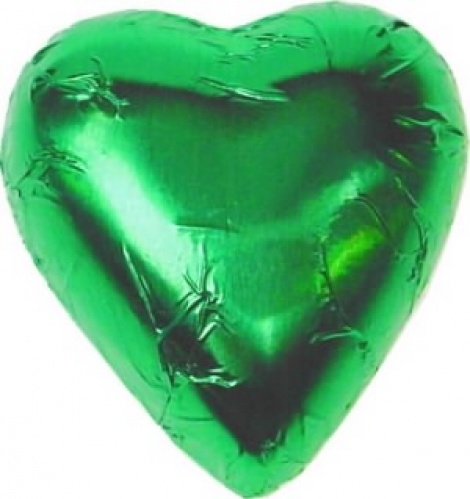 CHOCOLATE HEART LIME GREEN 500G