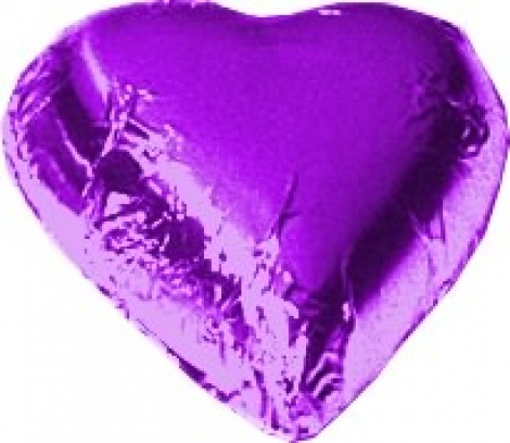 CHOCOLATE HEART MAUVE 500G