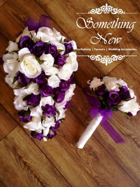 TEARDROP / SHOWER BOUQUET - PURPLE & IVORY