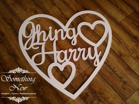 LARGE PERSONALISED CUT OUT HEART - WHITE
