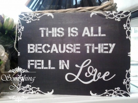 AISLE SIGN - THIS IS ALL BECAUSE THEY FELL IN LOVE