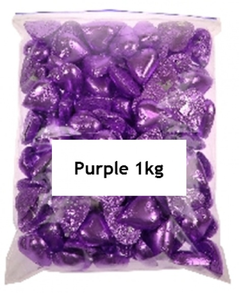 CHOCOLATE HEART PURPLE 1KG