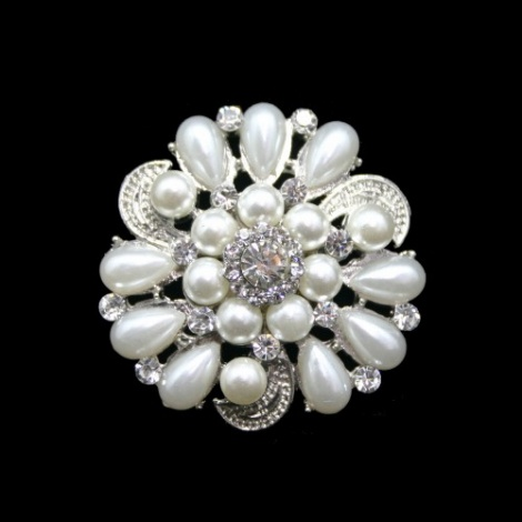 ARABESQUE SMALL RHINESTONE AND PEARL BROOCH
