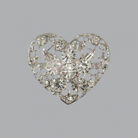 LACE HEART RHINESTONE BROOCH
