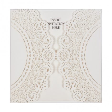 14CM SQUARE LASERCUT DOILY STYLE WALLET - OFF WHITE