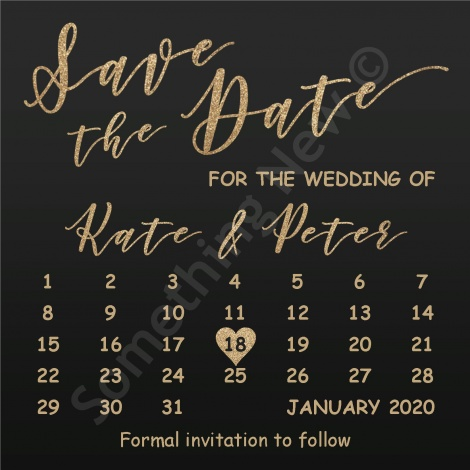 PERSONALISED DIGITAL SAVE THE DATE - CALENDAR STYLE