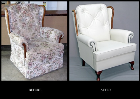 Recovered Wing Chair in Leather