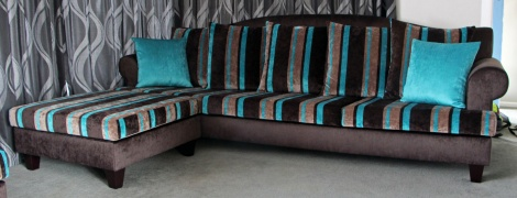 Re-covered Sofa with Chaise/Ottoman